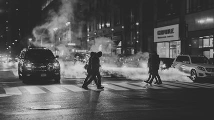 New York City Street at Night, Steam