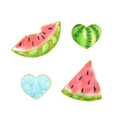 Watercolor watermelon heart  illustration, isolated summer food organic fruit set