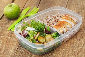 Lunch Box Healthy Food Take Away Plastic Container Buckwheat Salad Chicken Meat Brest Rustic Wooden Board