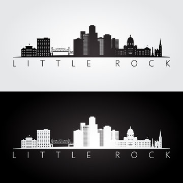 Little Rock, USA skyline and landmarks silhouette, black and white design, vector illustration.
