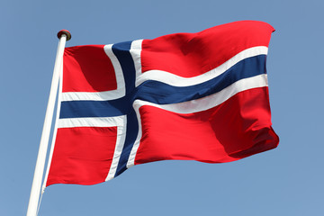 Norway. Norwegian Flag in a Blue Sky. Proud to express loyalty and love to the country.
