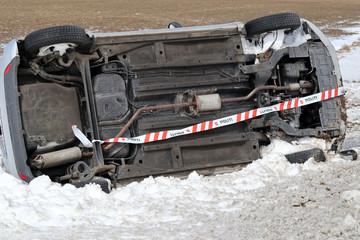 Winter car crash accident.