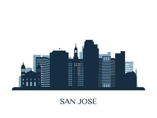 San Jose skyline, monochrome silhouette. Vector illustration.