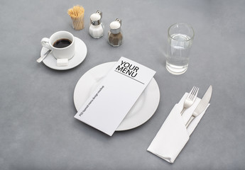 Menu on Diner Table Mockup