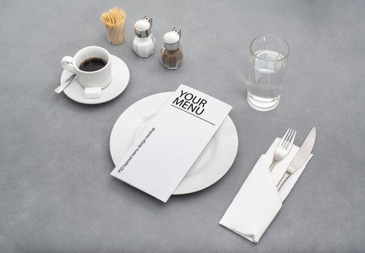 Menu on Diner Table Mockup