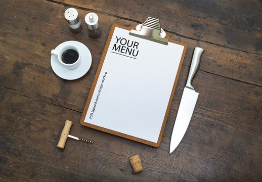 Restaurant Menu with Clipboard on Wooden Table Mockup