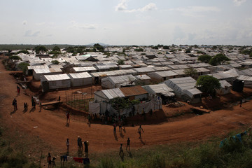 An aerial view shows a section of the Protection of Civilian site 3 site in the UNMISS compound outside Juba
