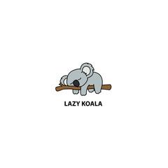 Lazy koala sleeping on a branch cartoon, vector illustration