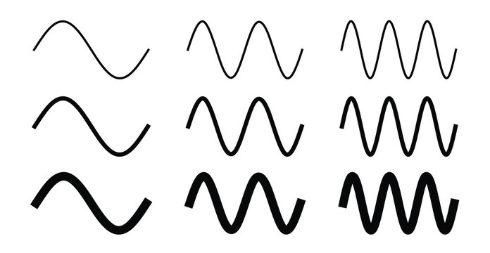 Simple sine wave drawing. One, two and three period with 3 different width.