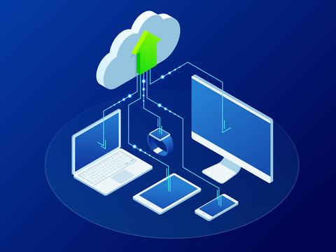 Isometric modern cloud technology and networking concept. Synchronizing devices with cloud storage. Web cloud technology business. Internet data services vector illustration