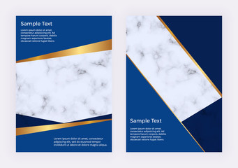 Modern geometric design brochure with blue triangles shapes and golden lines. Backgrounds with marble texture. Trendy template for flyer, invitation, banner, birthday, wedding, business card.