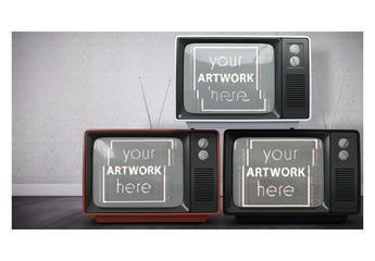 3 TVs in a Room Mockup