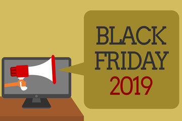 Text sign showing Black Friday 2019. Conceptual photo day following Thanksgiving Discounts Shopping day Social media network convey lines messages ideas computer screen use.