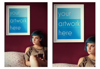 Picture Frame on a Bedroom Wall Mockup