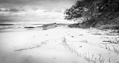 Stradbroke Island Beach Sunrise Black and White