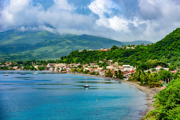 Wall Mural - Paradise coast at Saint Pierre with Mt. Pelee, active volcanic mountain in Martinique, Caribbean Sea