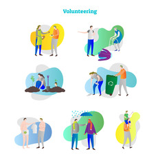 Vector illustration with volunteering icon collection set. Examples of help, assistance, donation, care and interacting. Humanity towards poor, elder and hunger