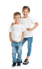 Little kids in t-shirts on white background. Mockup for design