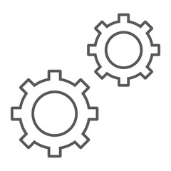 Configuration thin line icon, data and analytics, cog wheel sign, vector graphics, a linear pattern on a white background, eps 10.