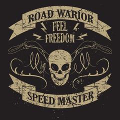 Tee skull motorcycle graphic design. Motorcycle T-shirt Design.Racing Typography Graphics. Bikers wear.