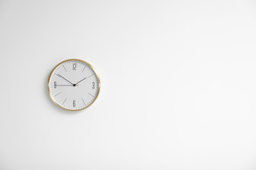 Stylish clock on white background. Time concept