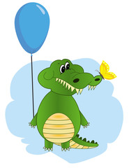Cartoon crocodile with balloon