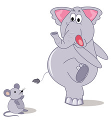 Elephant and mouse on a white background