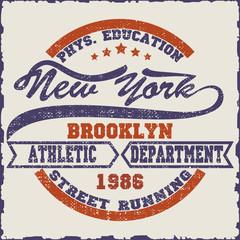 New York Brooklyn Sport wear, sport typography emblem, t-shirt stamp graphics, athletic apparel design