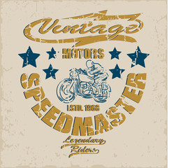 Motorcycle Emblem.Vintage typography design for biker club, For t-shirt or other uses.