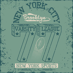 New York Sport wear typography emblem, american football,vintage, college ,superior, sports graphics for t-shirt