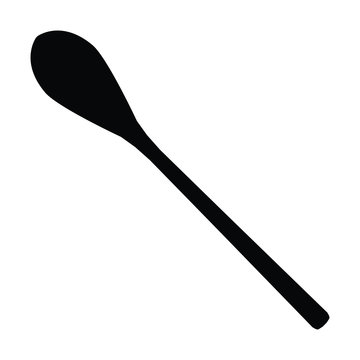 A black and white silhouette of a spoon