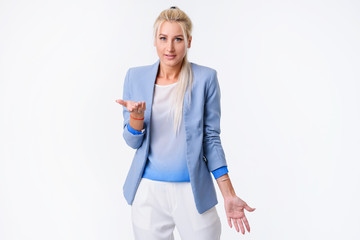 Shocked business woman with troubles emotional portrait. Problems. Crisis.White background