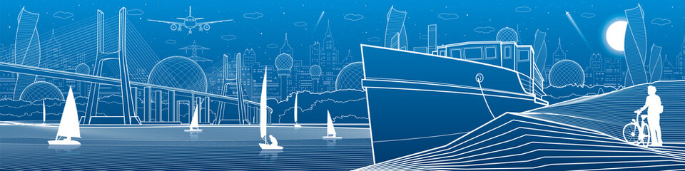 City infrastructure panoramic illustration. Big bridge across the river. Ship landed on sea shore. Sailing yachts on the water. White lines on blue background. Vector design art