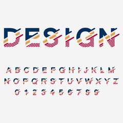 Modern abstract typographic font and alphabet