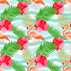 Seamless floral vector summer pattern with tropical leaves, flamingo, hibiscus on a geometric background..