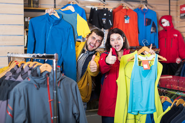 Couple enjoying new sportswear
