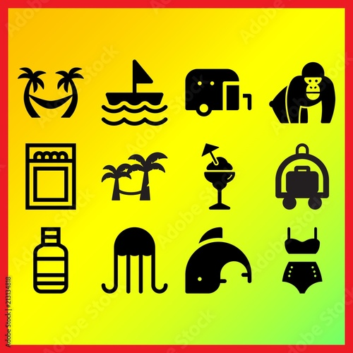 Sailboat Water Bottle And Hamac On Trees Related Icons Set Stock