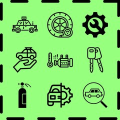 Simple 9 icon set of service related cab, engine, extinguisher and car repair vector icons. Collection Illustration