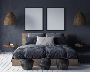 Foto op Canvas Boho Stijl Mock up poster in bedroom interior,ethnic style, 3d render