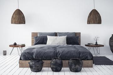 Ethnic bedroom interior, 3d render