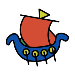 Cute boat cartoon illustration isolated on white background for children color book
