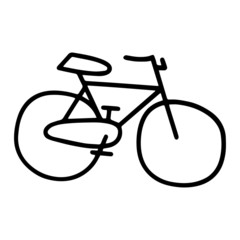 Cute bicycle cartoon illustration isolated on white background for children color book