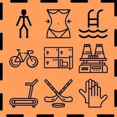 Simple 9 icon set of fitness related [iconsRandom:4] vector icons. Collection Illustration