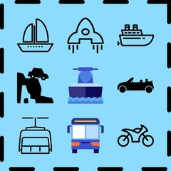 Simple 9 icon set of travel related ship, motorcycle, convertible and rocket ship vector icons. Collection Illustration