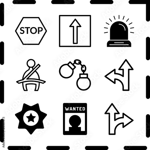 Simple 9 Icon Set Of Law Related Seat Belt Detour Detour And