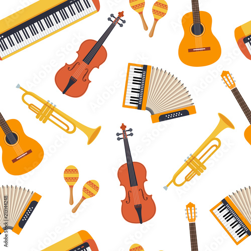 Seamless stylish colorful pattern of musical instruments on
