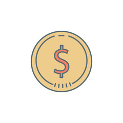 coin cent dusk style line icon. Element of banking icon for mobile concept and web apps. Dusk style coin cent icon can be used for web and mobile