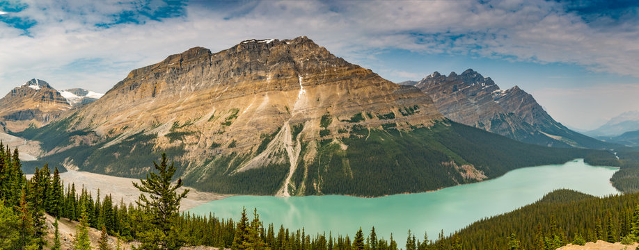 Panoramic View of Peyto Lake, Icefields Parkway, Banff National Park, Alberta, Canada on a Hazy Smoky Day