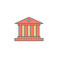 building with columns dusk style line icon. Element of banking icon for mobile concept and web apps. Dusk style building with columns icon can be used for web and mobile