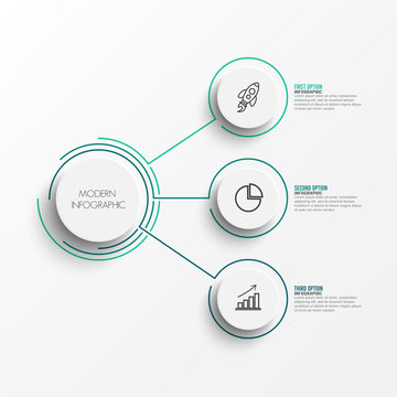 Abstract elements of graph infographic template with label, integrated circles. Business concept with 3 options. For content, diagram, flowchart, steps, parts, timeline infographics, workflow layout,